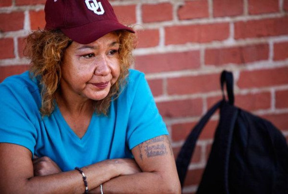 Edie Johnson is one of  the homeless who stay in the area near Sheridan and Western Avenues. Speaking about her past and family quickly brings her to tears. PHOTO BY JIM BECKEL, THE OKLAHOMAN <strong>JIM BECKEL - THE OKLAHOMAN</strong>
