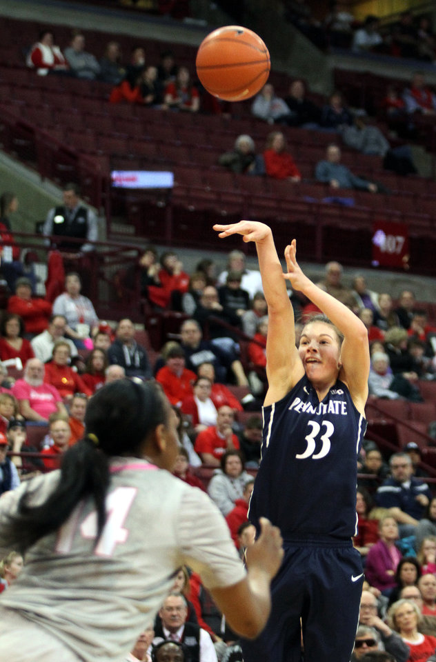 Photo - Penn State's Maggie Lucas (33) shoots a three-pointer during the first half of an NCAA women's college basketball game, Sunday, Feb. 9, 2014, in Columbus, Ohio. (AP Photo/Mike Munden)