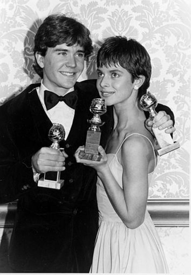 "Actors Timothy Hutton and Nastassja Kinski pose with their awards during the 38th annual Golden Globe Awards in Beverly Hills, Calif., Saturday, January 31, 1981. Kinski was awarded best actress for her role in ""Tess,"" and Hutton won best supporting actor for his part in the movie ""Ordinary People."" (AP Photo)"