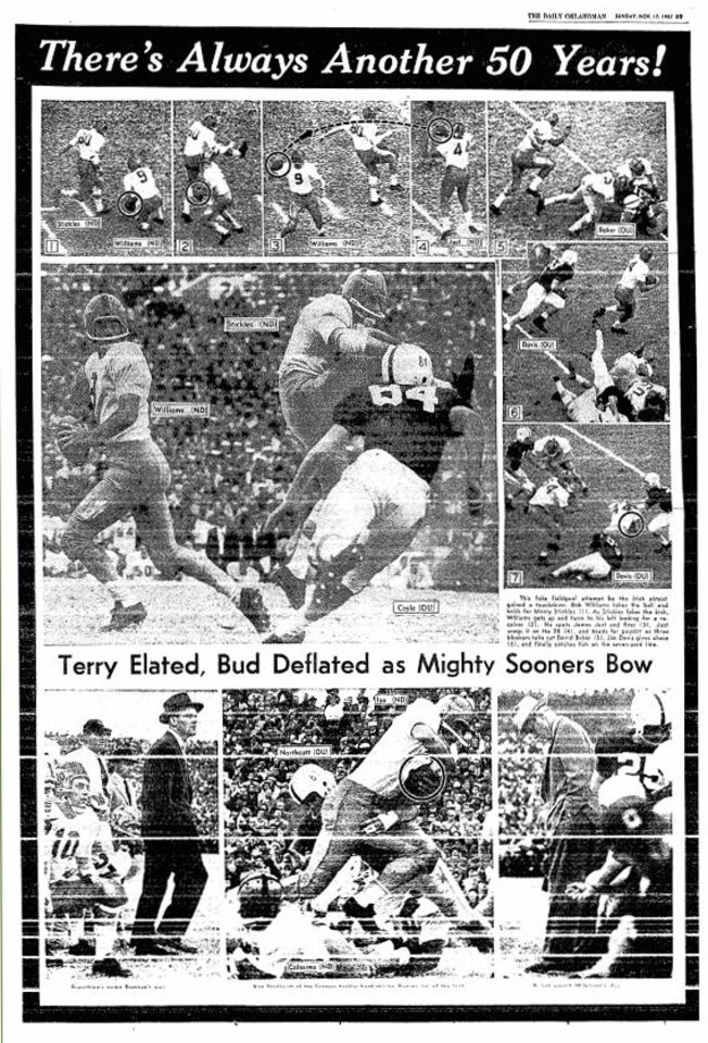 Photo - OU-Notre Dame photo page from Nov. 17, 1957 editions of The Daily Oklahoman. FROM THE OKLAHOMAN ARCHIVES