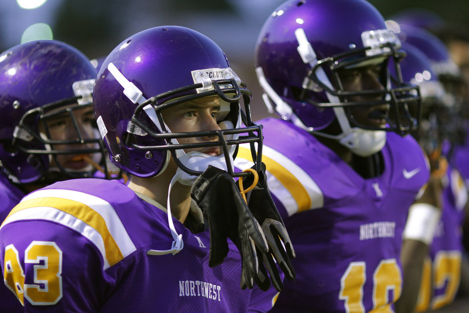 NWC players watch the game at the Northwest Classen vs. Western Heights high school football game at Taft Stadium Thursday, September 20, 2012. Photo by Doug Hoke, The Oklahoman