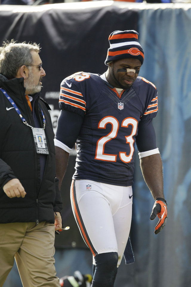 Chicago Bears wide receiver Devin Hester (23) walks off the field during the first half of an NFL football game against the Minnesota Vikings in Chicago, Sunday, Nov. 25, 2012. (AP Photo/Nam Y. Huh)