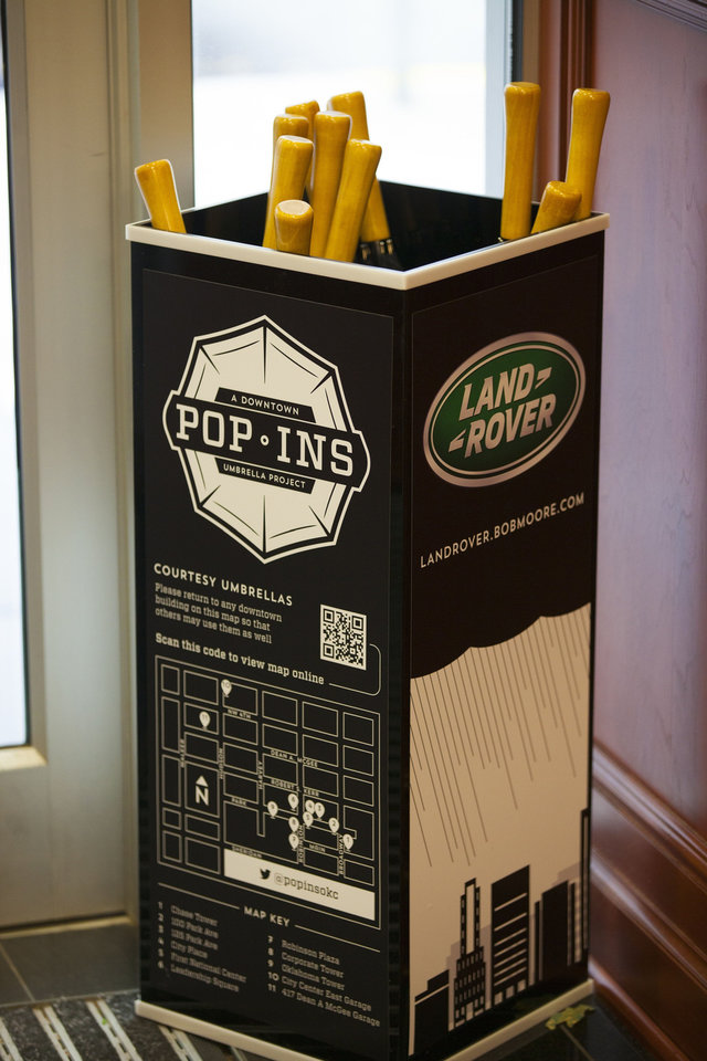 A Pop-Ins umbrella stand is shown in this photo. <strong>Courtesy VI Marketing and Branding</strong>