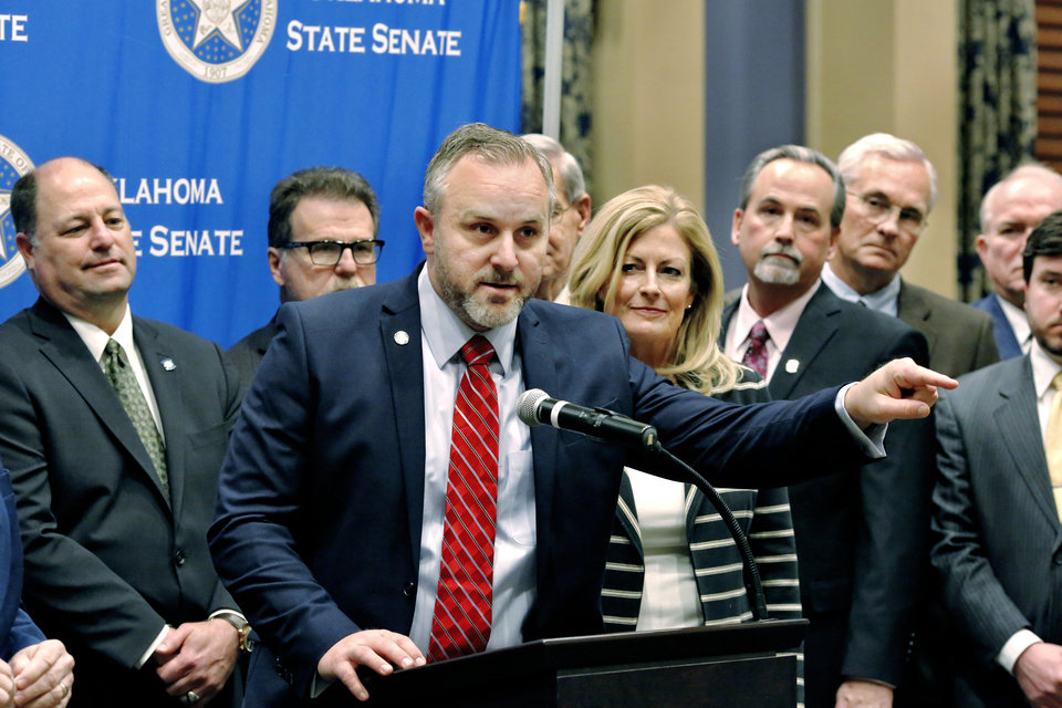 Photo -   Sen. Greg Treat makes a point Jan. 29 during a news conference as Republican members of the Oklahoma Senate gathered at the state Capitol to discuss their party's 2019 legislative agenda. [JIM BECKEL/THE OKLAHOMAN ARCHIVES]