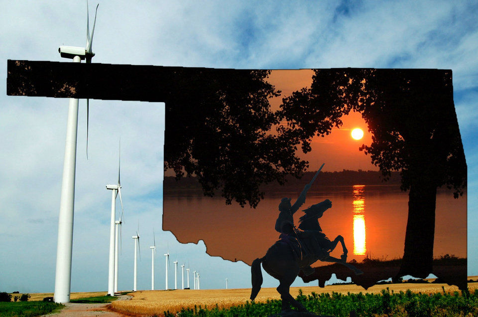 Oklahoma Collage-- The windmills are near Weatherford.The sunrise/sunset is at Lake Overholser and the cowboy  is from the Western Heritage Center.<br/><b>Community Photo By:</b> Eldon Harris<br/><b>Submitted By:</b> Eldon, Bethany