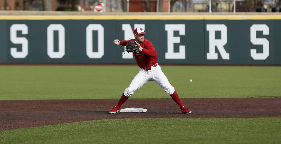 Photo - OU's Brandon Zaragoza (4) throws to first base during practice for the University of Oklahoma baseball team at L. Dale Mitchell Park in Norman, Okla., Friday, Feb. 7, 2020. [Nate Billings/The Oklahoman]