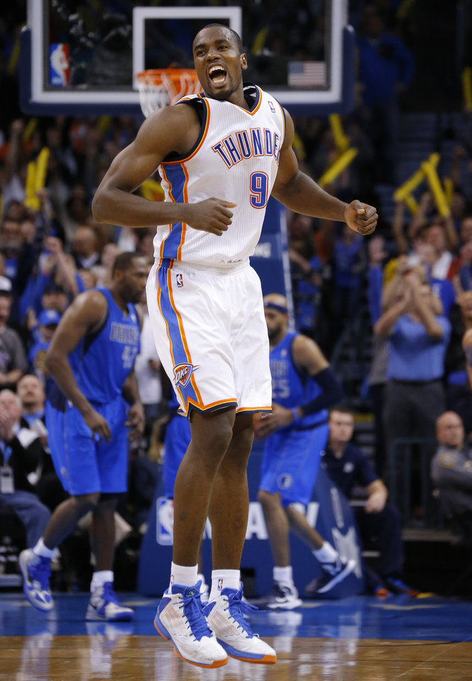 Oklahoma City's Serge Ibaka (9) reacts after a basket during an NBA basketball game between the Oklahoma City Thunder and the Dallas Mavericks at Chesapeake Energy Arena in Oklahoma City, Thursday, Dec. 27, 2012.  Oklahoma City won 111-105. Photo by Bryan Terry, The Oklahoman
