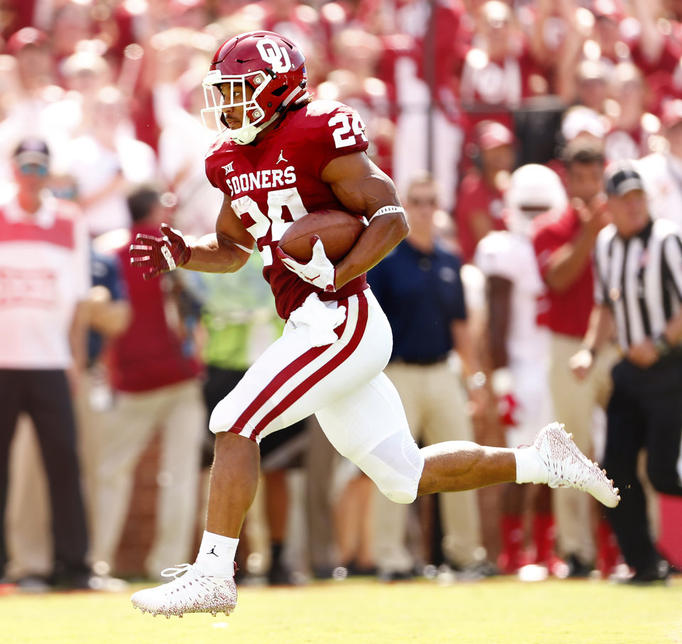 Photo -  Oklahoma running back Rodney Anderson will have to go through the long process of rehabilitation after suffering a season-ending knee injury Saturday against UCLA. [PHOTO BY STEVE SISNEY, THE OKLAHOMAN]