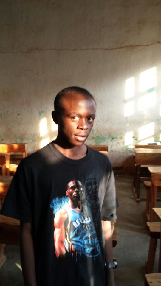 Luke, a boarding school student in Rwanda, wears his new Russell Westbrook shirt. He is an avid fan of the Oklahoma City Thunder NBA basketball superstar. PHOTO PROVIDED