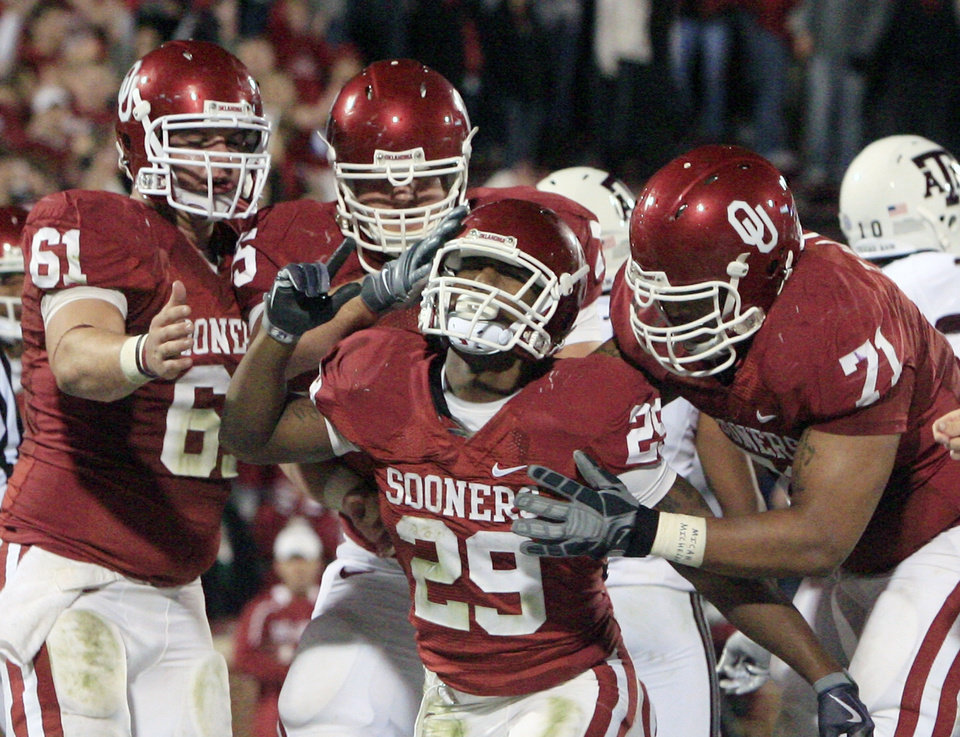 klahoma running back Chris Brown, center, celebrates with teammates after his touchdown against Texas A&M in the second quarter of an NCAA college football game in Norman, Okla., Saturday, Nov. 14, 2009. AP Photo