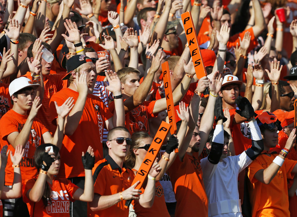 OSU fans cheer before a college football game between Oklahoma State University (OSU) and Savannah State University at Boone Pickens Stadium in Stillwater, Okla., Saturday, Sept. 1, 2012. Photo by Nate Billings, The Oklahoman