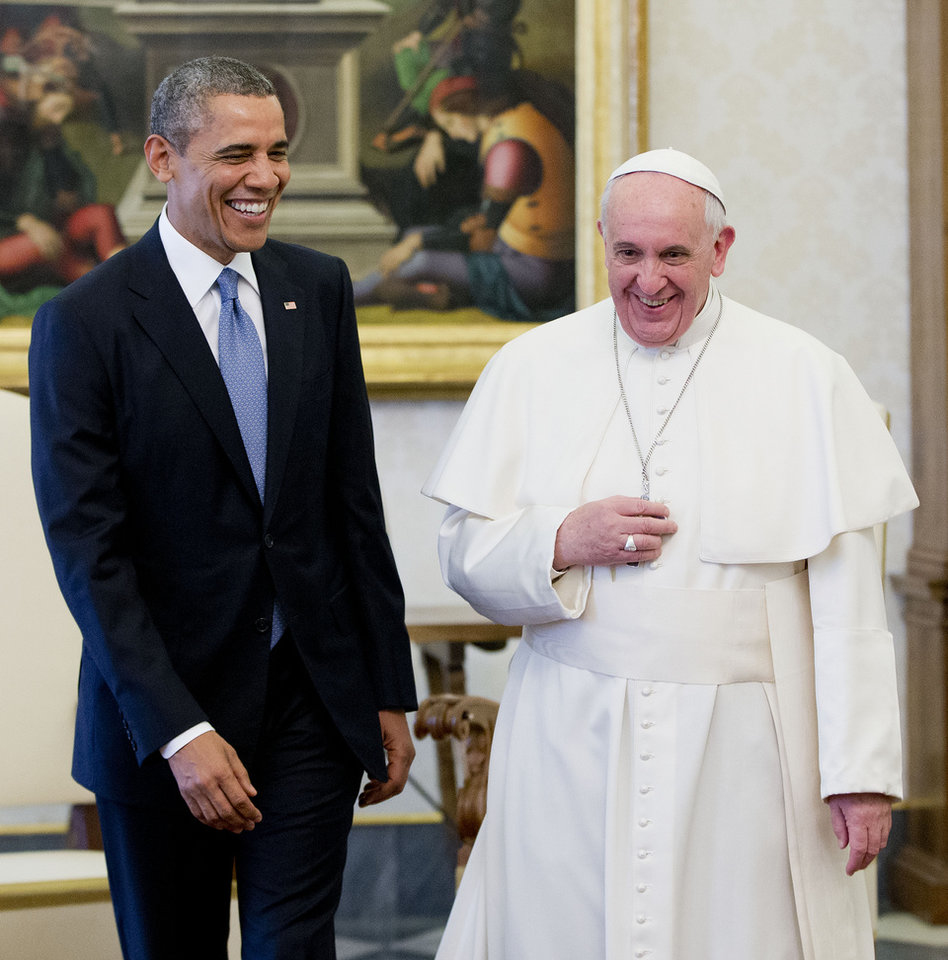 Photo - US President Barack Obama meets with Pope Francis, Thursday, March 27, 2014 at the Vatican. Obama called himself a