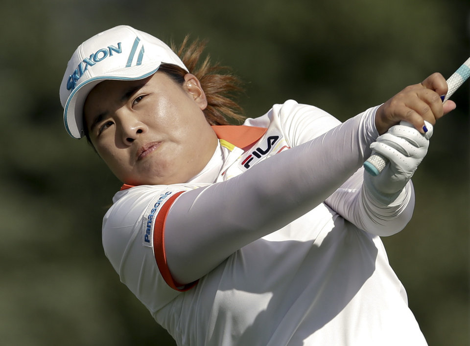 Inbee Park, of South Korea, watches her tee shot on the 16th hole during the second round of the LPGA Kraft Nabisco Championship golf tournament in Rancho Mirage, Calif., Friday, April 5, 2013. (AP Photo/Chris Carlson)