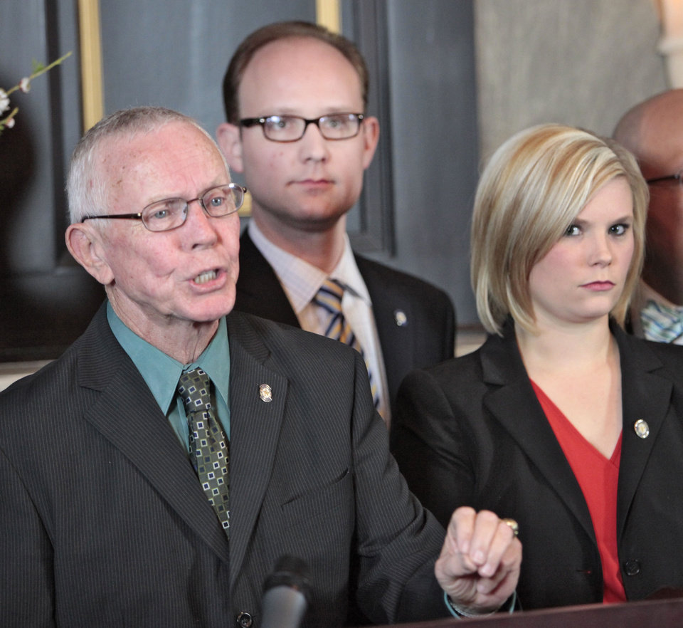 Ed Cannaday, District 15, speaks during a House Democrats news conference to object to an income tax cut. Photo By David McDaniel/The Oklahoman David McDaniel - The Oklahoman