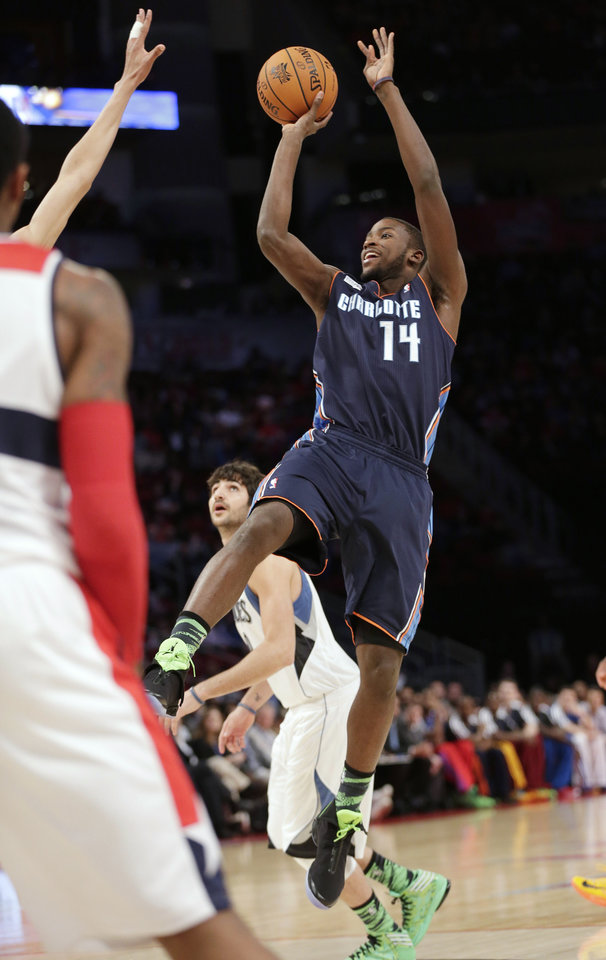 Team Shaq's Michael Kidd-Gilchrist of the Charlotte Bobcats shoots against Team Chuck during the first half of the Rising Stars Challenge basketball game at NBA All-Star Weekend, Friday, Feb. 15, 2013, in Houston. (AP Photo/Eric Gay)