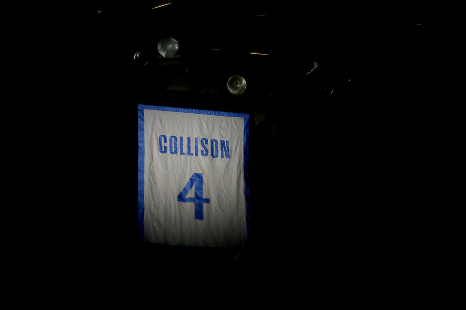 Photo - Nick Collison's jersey number is seen during a ceremony to retire his jersey number before an NBA basketball game between the Oklahoma City Thunder and the Toronto Raptors at Chesapeake Energy Arena in Oklahoma City, Wednesday, March 20, 2019. Photo by Bryan Terry, The Oklahoman