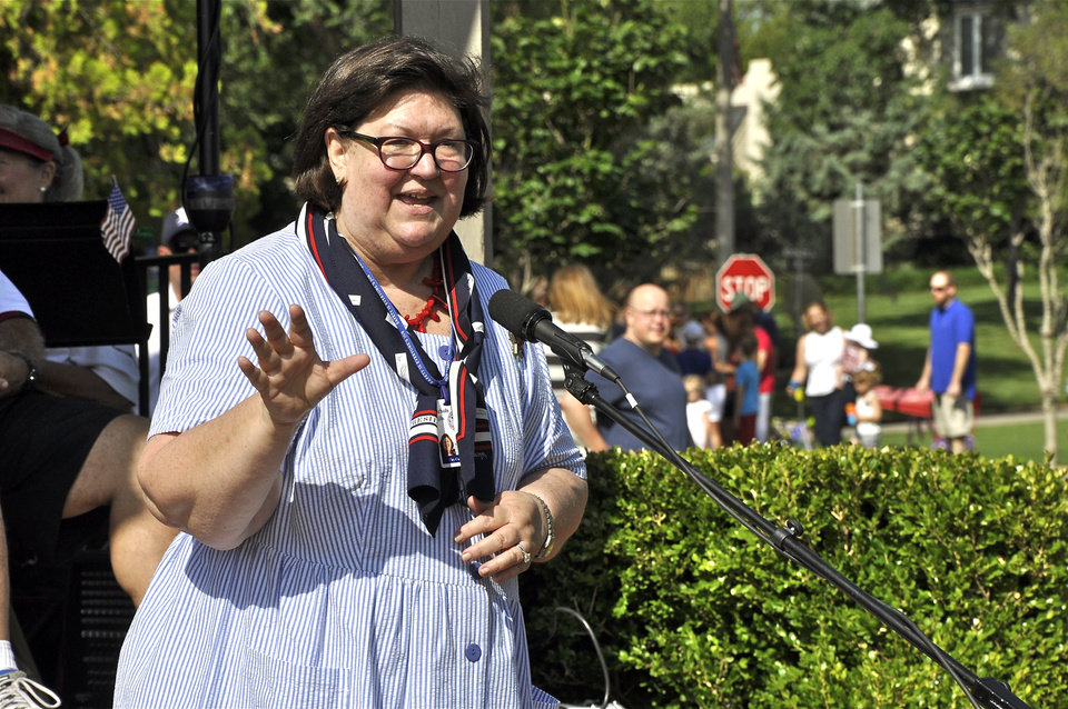 Photo -  Nichols Hills Mayor Sody Clements address the crowd on Independence Day. Photo by M. Tim Blake, for The Oklahoman   M. Tim Blake