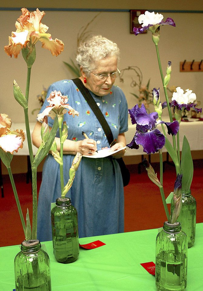 Photo - Susan Warram keeps track of her favorite irises at the Norman chapter's National Iris Society annual show. PHOTO BY LYNETTE LOBBAN, FOR THE OKLAHOMAN