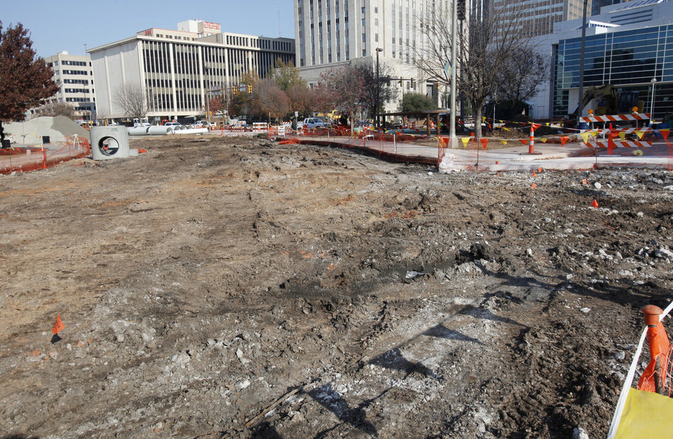 Photo - Street construction at Colcord Avenue and Hudson in downtown Oklahoma City. City leaders hope to see most Project 180 street construction wrapped up later this year.Photo by PAUL B. SOUTHERLAND, The Oklahoman