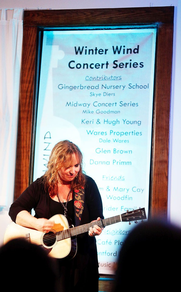Gretchen Peters entertains at the Performing Arts Studio at the Depot during a Winter Wind concert on Sunday, Jan. 27, 2013 in Norman, Okla.  Photo by Steve Sisney, The Oklahoman