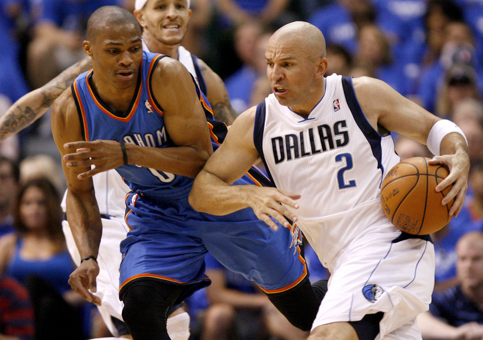 Dallas\' Jason Kidd (2) tries to get around Oklahoma City\'s Russell Westbrook (0) during Game 3 of the first round in the NBA playoffs between the Oklahoma City Thunder and the Dallas Mavericks at American Airlines Center in Dallas, Thursday, May 3, 2012. Photo by Bryan Terry, The Oklahoman