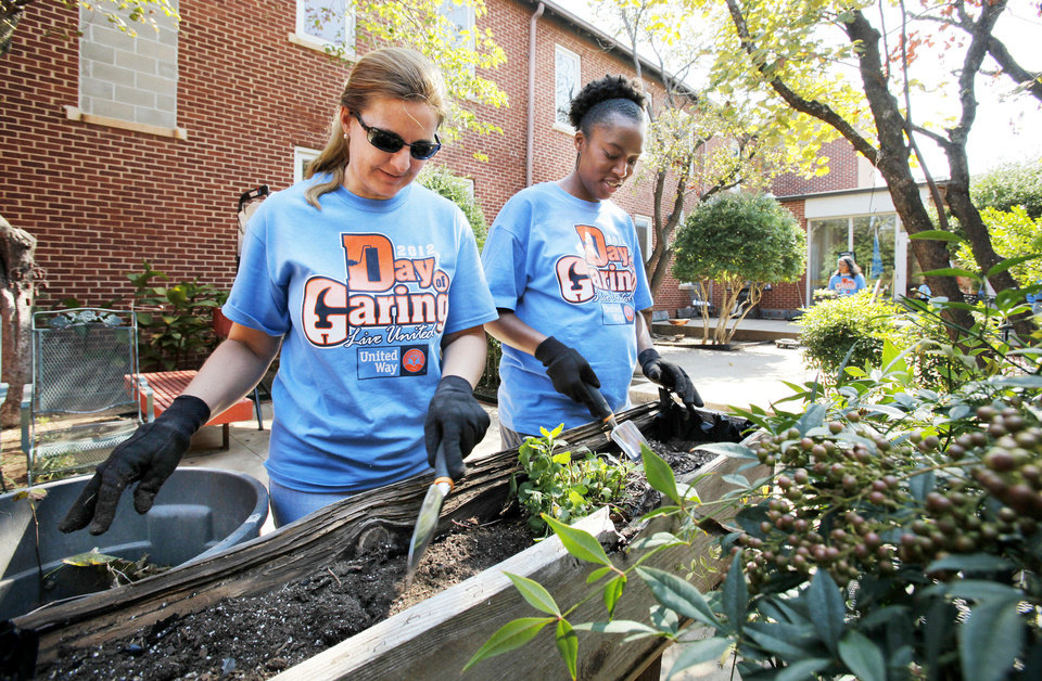 United Way Day of Caring volunteers Janice Fox, left, and Niki Ogunyomi do landscape work Friday  at the Community Services Building, which houses several nonprofit agencies on E Main Street in  Norman. PHOTOs BY STEVE SISNEY, THE OKLAHOMAN
