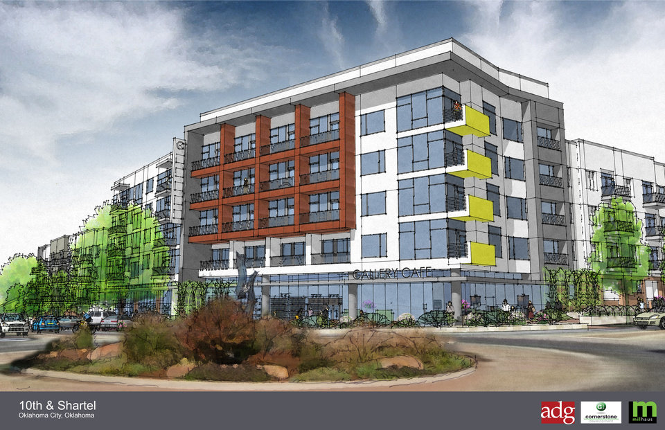 The $42.5 million, 327-unit apartment complex set to begin construction in April at NW 10 and Shartel will include ground floor retail facing the round-about intersection. <strong>ADG</strong>