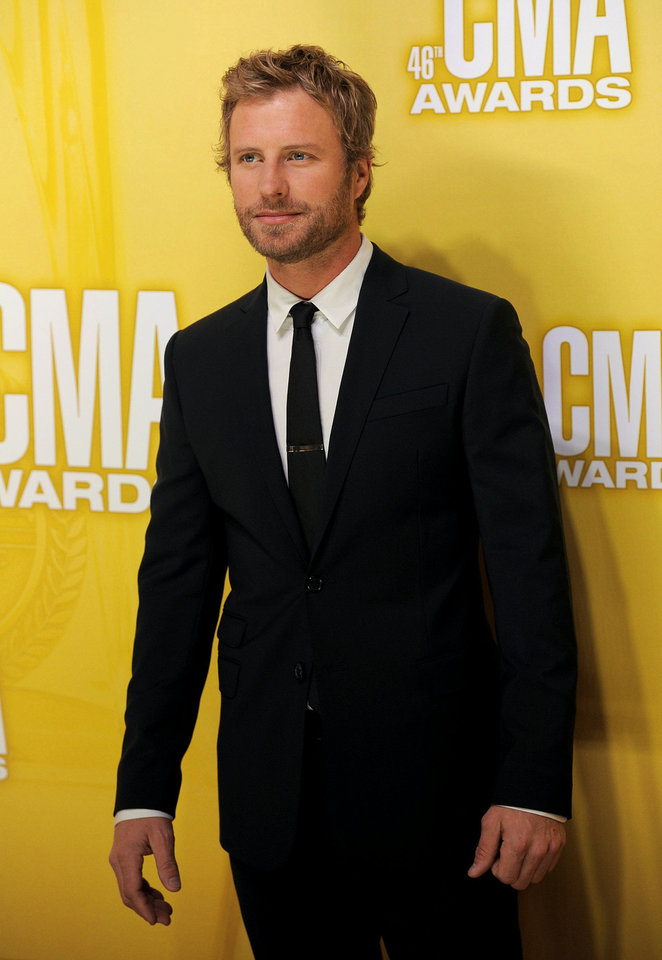 Photo - Dierks Bentley arrives at the 46th annual Country Music Awards at the Bridgestone Arena on Nov. 1 in Nashville, Tenn. (Photo by Chris Pizzello/Invision/AP)  Chris Pizzello - Chris Pizzello/Invision/AP