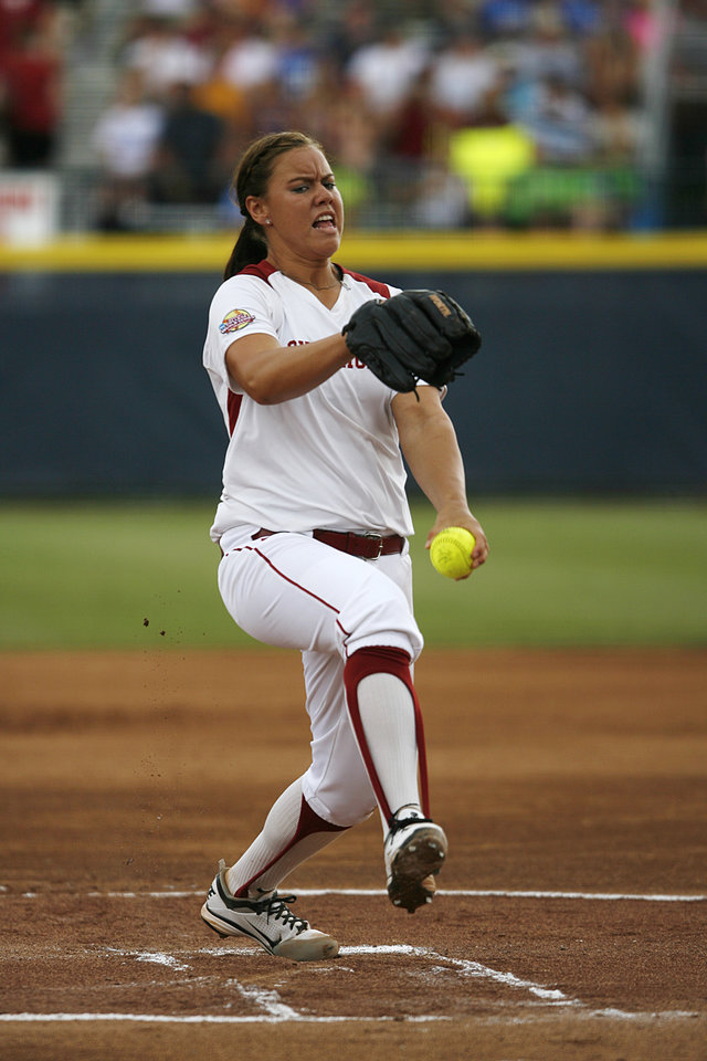 Keilani Ricketts (10) pitches during a Women\'s College World Series game between Oklahoma University and Arizona State University at ASA Hall of Fame Stadium in Oklahoma City, Sunday, June 3, 2012. Photo by Garett Fisbeck, The Oklahoman