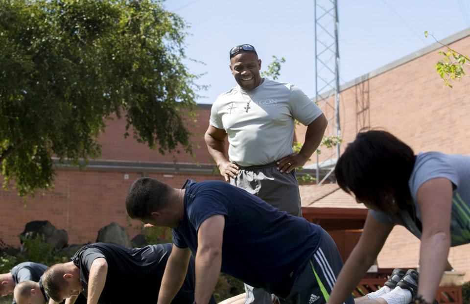 Photo -       Ron Williams, a nondenominational Christian pastor, trains members of the Utah National Guard at the headquarters on Thursday, Aug. 14, 2014. (Laura Seitz, Deseret News)