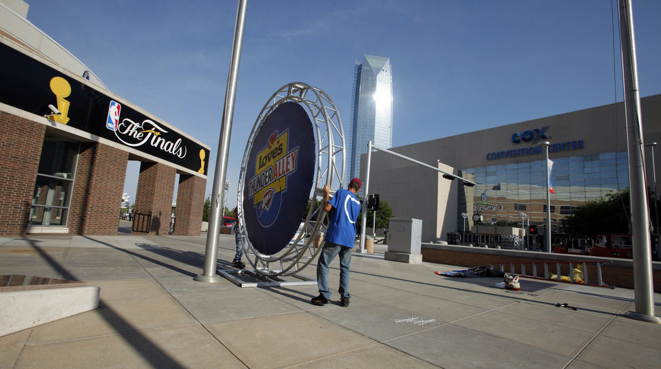 Workers with Martin Sports Entertainment begin setting up Thunder Alley just after 8:00 a.m. in preparation for the first game of the NBA basketball finals at the Chesapeake Arena on Tuesday, June 12, 2012 in Oklahoma City, Okla.  Photo by Steve Sisney, The Oklahoman