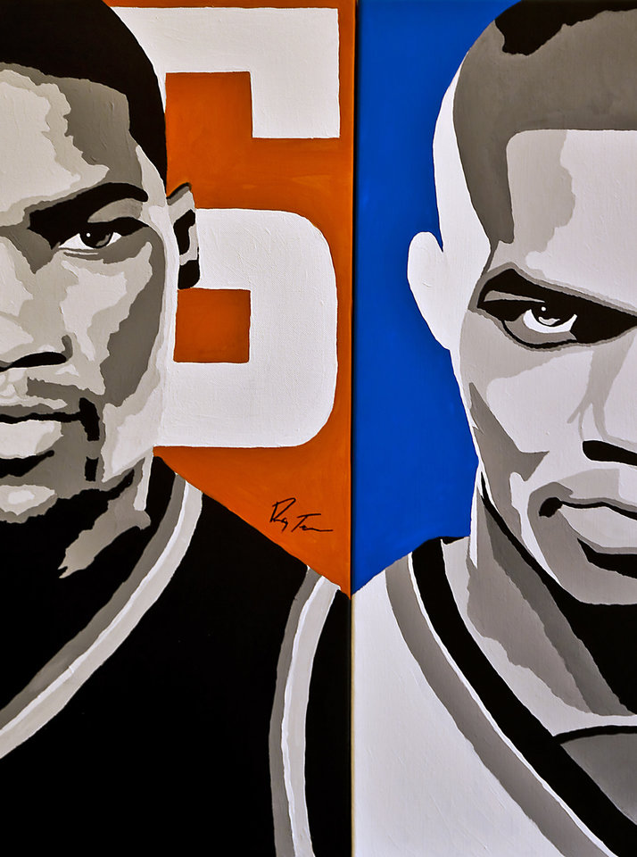 Photo - Thunder stars Kevin Durant, left, and Russell Westbrook are hungry for a championship after losing to Miami in the NBA Finals. Oklahoma City opens the season Nov. 1 at San Antonio.Art by Ray Tennyson/photo by chris landsberger