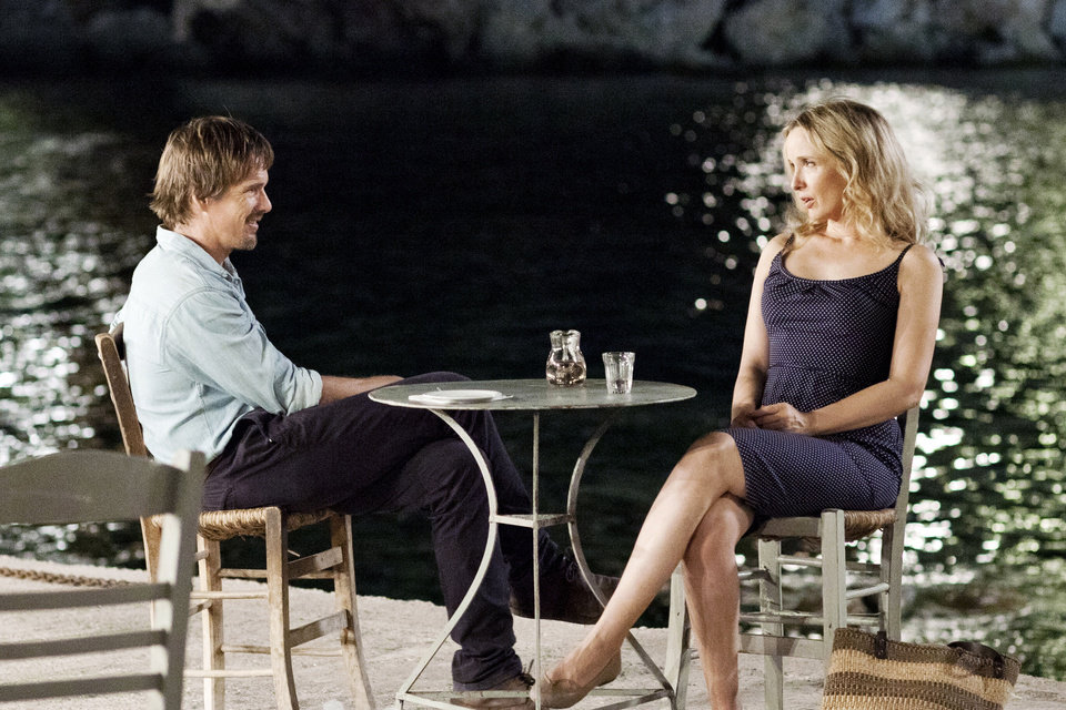 "This undated publicity photo released by Sony Pictures Classics shows, Ethan Hawke, left, and Julie Delpy, in a scene from the film, ""Before Midnight.""  (AP Photo/Sony Pictures Classics, Despina Spyrou)"