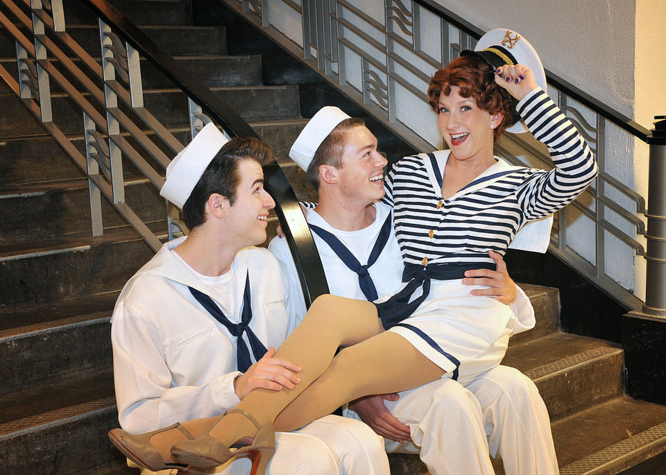 "Reed Bentley, Joel Swanson and Renee Anderson show off the natuical theme of Summerstock Productions' ""Anything Goes.""   Photo by Wendy Mutz <strong>WENDYMUTZ</strong>"