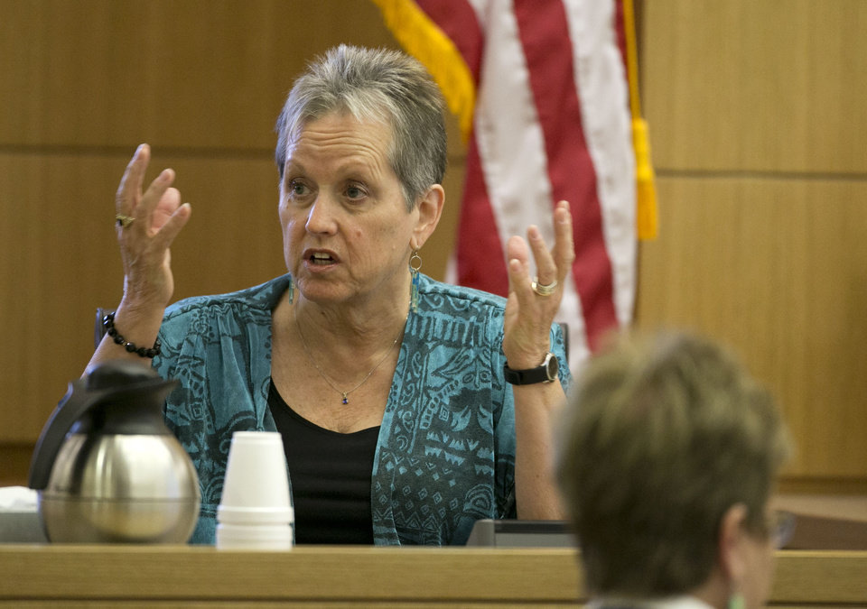 Alyce LaViolette,  a domestic violence expert, responds to a question during redirect from the defense during the Jodi Arias trial at Maricopa County Superior Court in Phoenix on Thursday, April 11, 2013.  Arias is on trial for the killing of her boyfriend, Travis Alexander, in 2008.  Arias faces a possible death sentence if convicted of first-degree murder.  (AP Photo/The Arizona Republic, David Wallace, Pool)