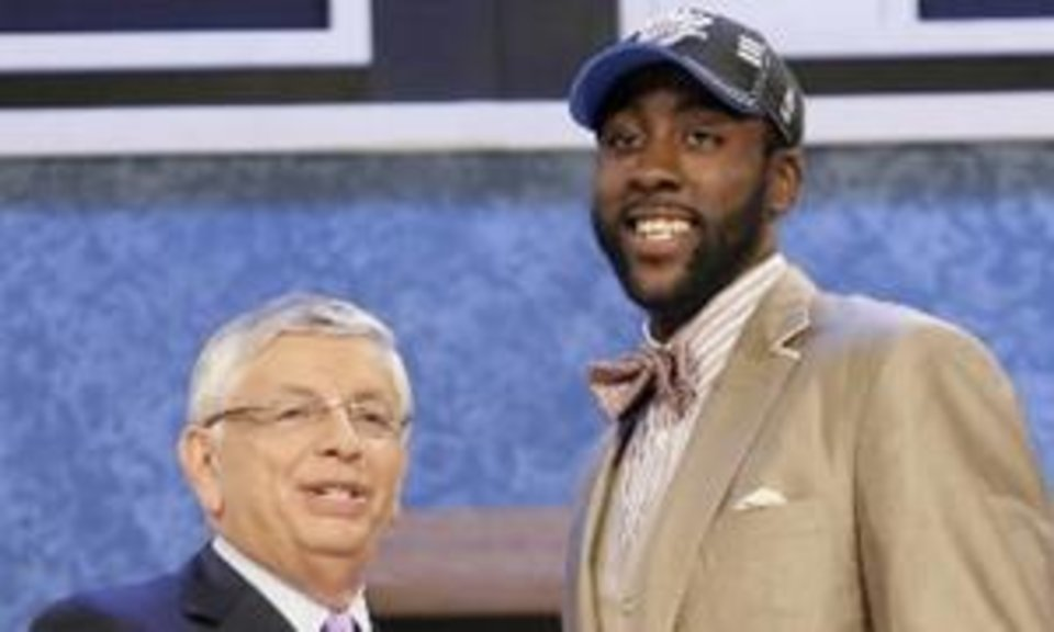 NBA commissioner David Stern, left, poses Arizona State's  James  Harden, who was selected by the Oklahoma City Thunder during the first round of the NBA basketball draft, Thursday, June 25, 2009, in New York. (AP Photo/Seth Wenig)