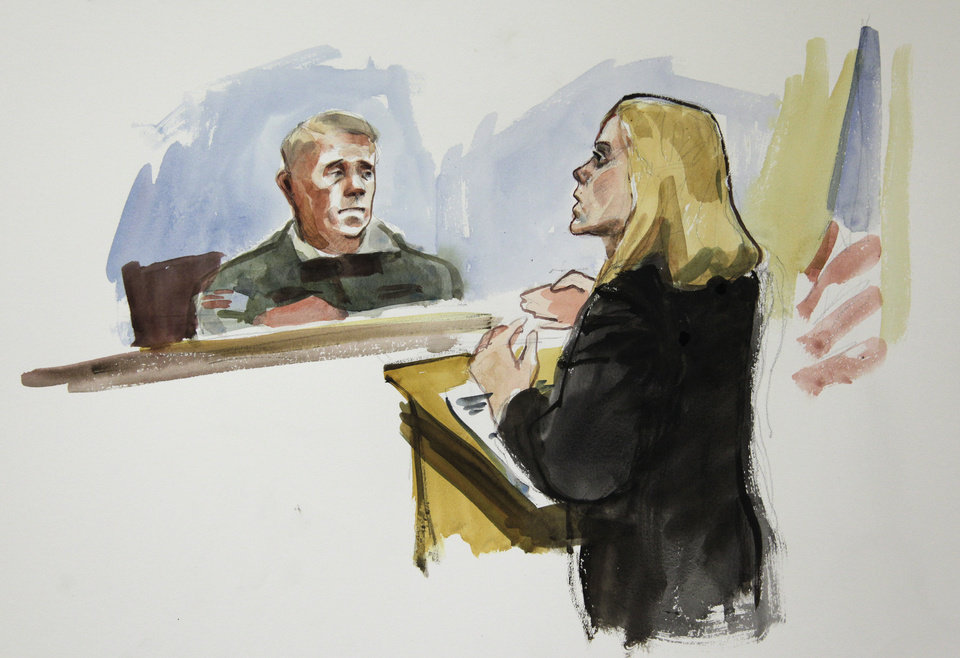 Photo -   In this courtroom sketch, Emma Scanlan, right, the civilian attorney for U.S. Army Staff Sgt. Robert Bales, makes her closing statements to Investigating Officer Col. Lee Deneke, left, Tuesday, Nov. 13, 2012 on the final day of a preliminary hearing for Bales at Joint Base Lewis McChord in Washington state. Bales is accused of 16 counts of premeditated murder and six counts of attempted murder for a pre-dawn attack on two villages in Kandahar Province in Afghanistan in March, 2012. (AP Photo/Lois Silver)
