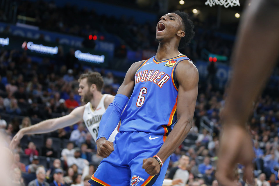 Photo - Oklahoma City's Hamidou Diallo (6) celebrates after a dunk during an NBA basketball game between the Oklahoma CIty Thunder and the New Orleans Pelicans at Chesapeake Energy Arena in Oklahoma City, Saturday, Nov. 2, 2019. Oklahoma City won 115-104. [Bryan Terry/The Oklahoman]