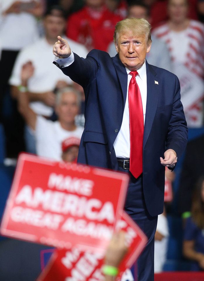Photo - President Donald Trump speaks at a campaign rally for President Donald Trump at the BOK Center in downtown Tulsa, Okla., on Saturday, June 20, 2020. MATT BARNARD/Tulsa World