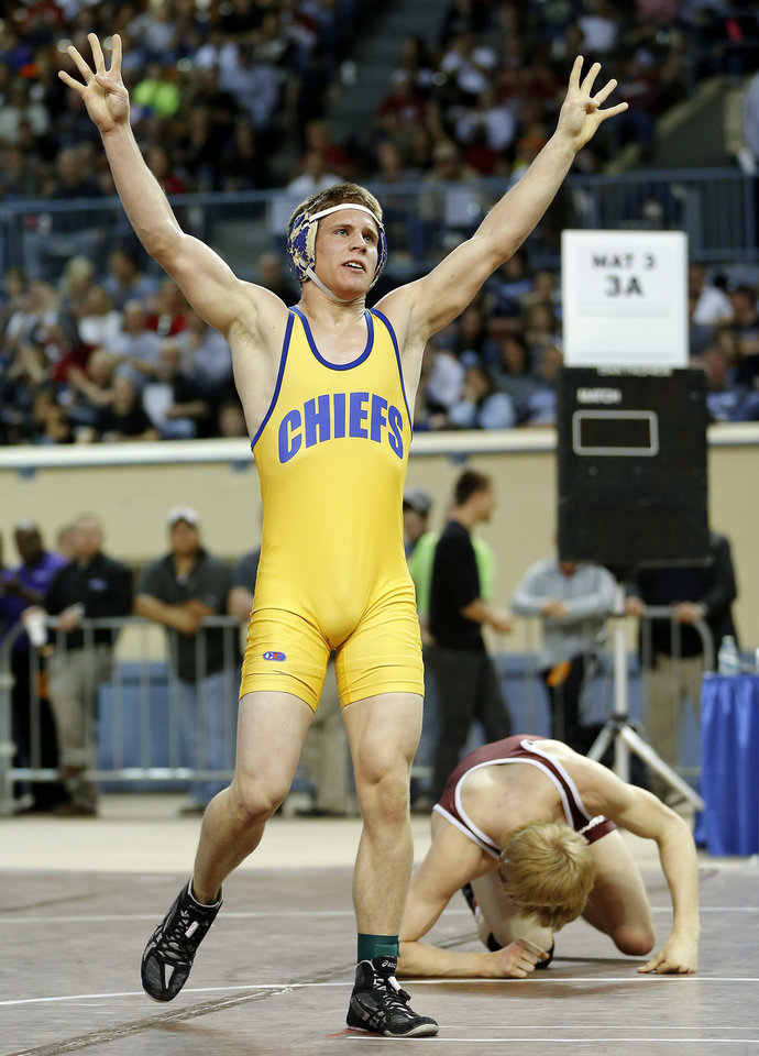 Berryhill's Davey Dolan celebrates after defeating Perry's Colton Looper in the Class 3A 145-pound championship match during the state wrestling championships at the State Fair Arena in Oklahoma City, Saturday, Feb. 23, 2013. Photo by Bryan Terry, The Oklahoman