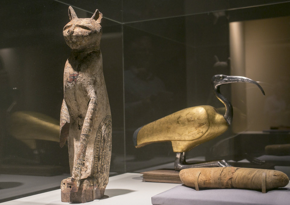 Photo - In this March 20, 2014 photo, a cat coffin with mummy, left, and an ibis coffin is displayed as part of the exhibit