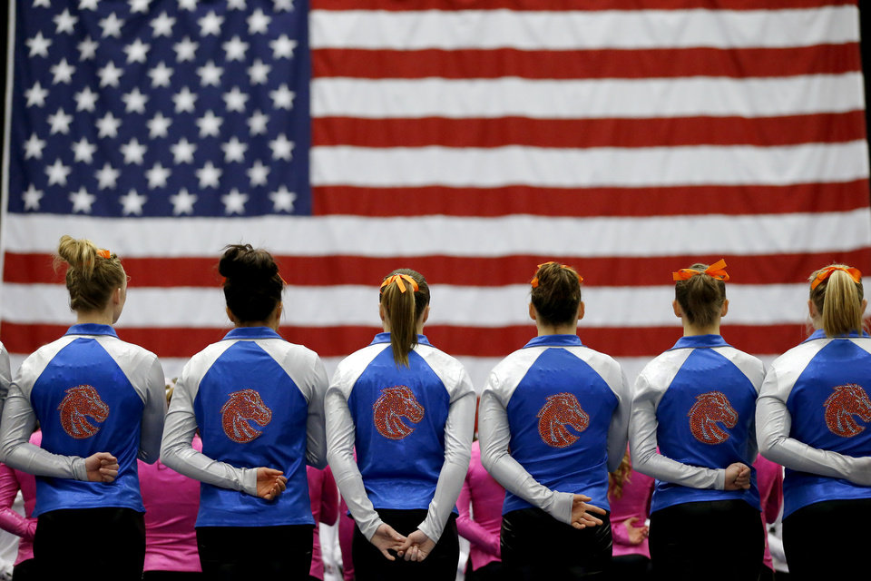 Members of the Boise State team stand during the national anthem before the Perfect 10 Challenge as part of the Bart & Nadia Sports & Health Festival at Cox Convention Center in Oklahoma City, Friday, Feb. 15, 2013. Photo by Bryan Terry, The Oklahoman
