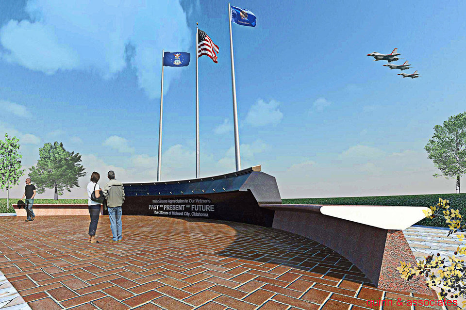 This rendering shows the proposed Midwest City Veterans Memorial to be located in Joe Barnes Regional Park in Midwest City.   Provided By Quinn & Associates <strong>Provided By Quinn & Associates - Provided By Quinn & Associates</strong>