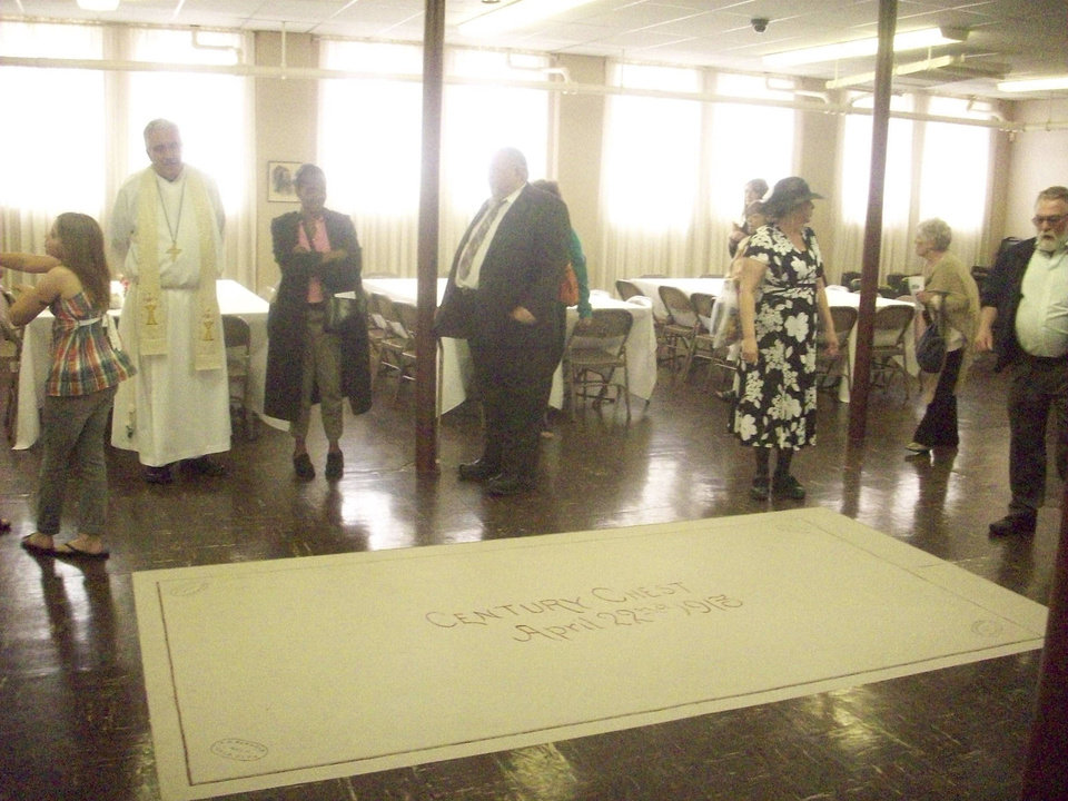 Church members and visitors view the location where the First Lutheran Church Century Chest is buried in the First Lutheran Church of Oklahoma City basement at 1300 N Robinson. Photo provided <strong></strong>