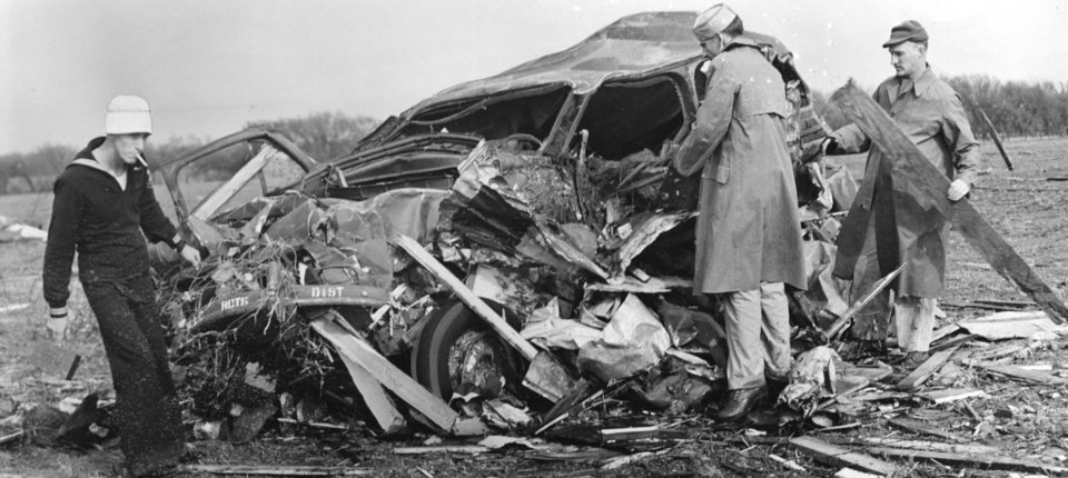 On April 12, 1945, a tornado skirted the southeastern edge of Oklahoma City and left in its wake death, debris and confusion, including this automobile that was carried 300 yards.   OKLAHOMAN ARCHIVE PHOTO  <strong>Bill Stockwell</strong>