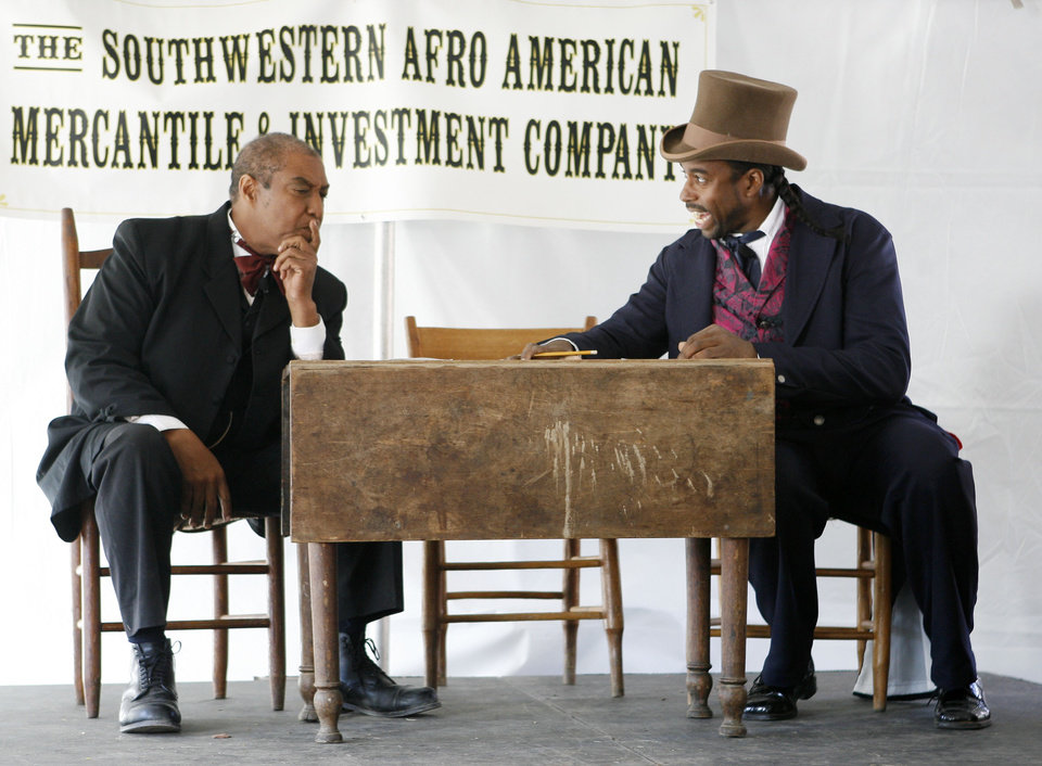 Photo - Actors Bruce Fisher, with the Oklahoma Historical Society (left) and Reginold Smith put on a play entitled