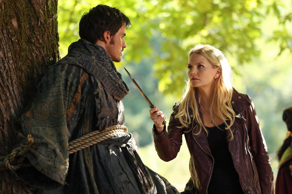 "ONCE UPON A TIME - ""The Doctor"" - While Regina continues to try and stop using her magic in an attempt to win back Henry\'s affections, she begins seeing what she believes is a ghost from her past; and when Mary Margaret and Emma discover a lone survivor from an ogre massacre, Emma begins to question whether or not he\'s telling the truth. Meanwhile, in the fairytale land that was, Regina finds herself failing at learning the dark arts from a dark master because something from her past is preventing her from using her magic for evil, on ""Once Upon a Time,"" SUNDAY, OCTOBER 28 (8:00-9:00 p.m., ET) on the ABC Television Network. (ABC/JACK ROWAND) COLIN O\'DONOGHUE, JENNIFER MORRISON"