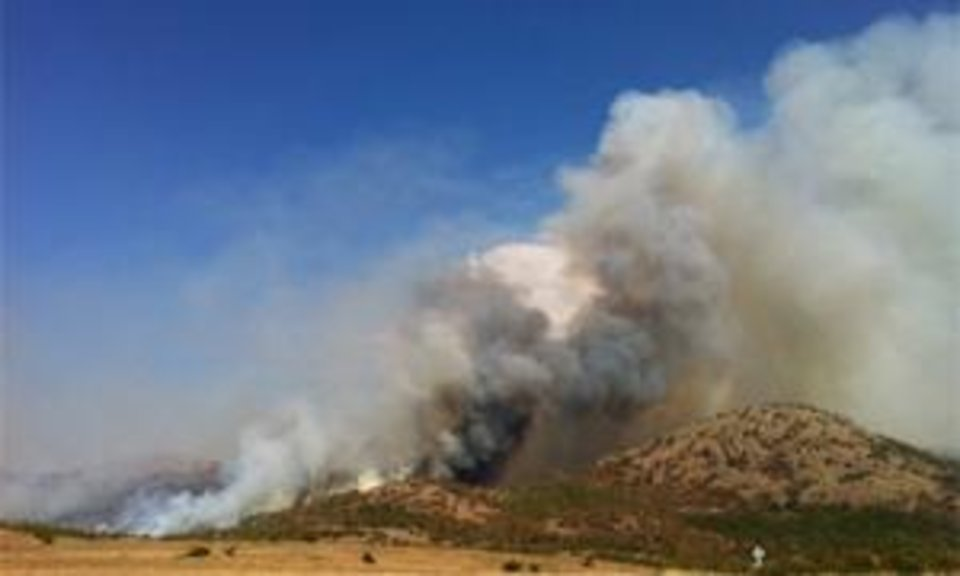 Photo - Smoke from the wildfire near Meers is seen in this provided photo.