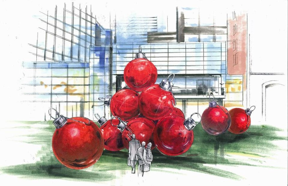 Large outdoor ornamental displays will be included in Christmas decorations at Devon Energy Center, as shown in this rendering. Provided <strong></strong>