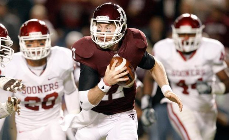 Texas A&M's Ryan Tannehill runs away from the OU defense during the college football game between the University of Oklahoma (OU) and Texas A&M University at Kyle Field in College Station, Texas, on Saturday, Nov. 6, 2010.  Photo by Bryan Terry, The Oklahoman